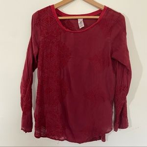 LANGUAGE Silk Deep Red Blouse with Floral Accents